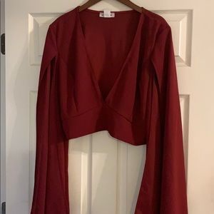Plus size Sexy Plunge Crop top w/Cape  sleeves